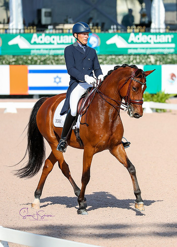 Tom Dvorak of Hillsburgh, ON and Cyrus earned top-three placings in all three CDI 3* small tour classes during the Adequan Global Dressage Festival 8, held March 1-4, 2018 in Wellington, FL. Photo by Susan J. Stickle
