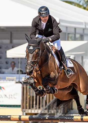Eric Lamaze riding Artisan Farms' Chesney scored his third $35,000 CSI3* Equinimity WEF Challenge Cup win of the season on March 15 at the Winter Equestrian Festival in Wellington, FL. Photo by Starting Gate Communications