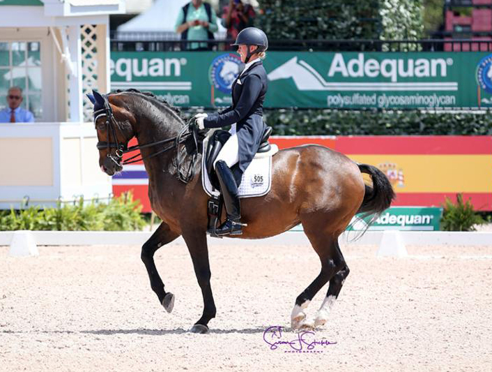 Megan Lane (CAN) finished fifth in the four-star special on San D'Or, but sat atop the leaderboard in the Grand Prix Special CDI3* riding her own 17-year-old Caravella to 71.617%.