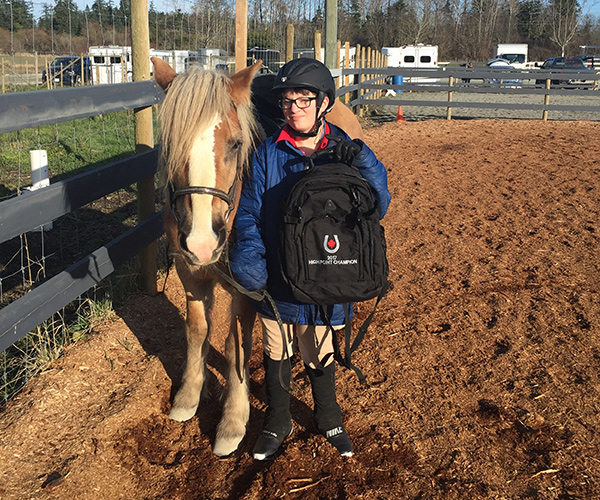 Zachary LaHay of Victoria, BC was the High Point Champion for Class #22 – Para-Equestrian Grade I Test 2 in the 2017 Sea-to-Sea Video Competition Series for para-dressage. Photo by Paul LaHay