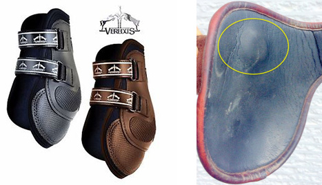 "When the FEI pinch boot ban comes into full effect in 2021, boots will be required to have a smooth interior, a maximum interior length of 16cm, and the fastener width must be at least 5cm – these examples (""flick"" boots on left, ""pinch boots"" on right) will no longer be permitted."