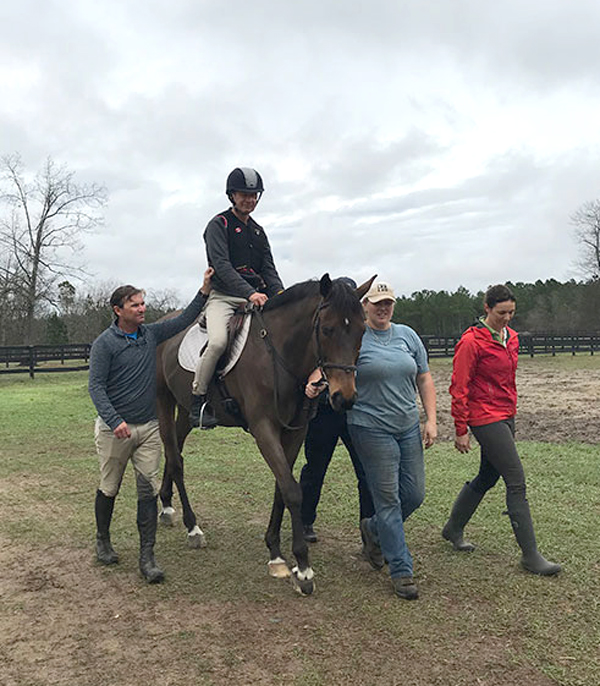 Canadian Olympian, Peter Barry of Dunham, QC, returned to the saddle in February 2018 after suffering a stroke one year earlier.