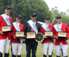 The victorious Canadian Show Jumping Team. From left to right: Jonathon Millar, Laura Jane Tidball, chef d'equipe Mark Laskin, Jenn Serek, and Keean White.