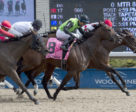 Let It Ride Mom (inside #5) edges out favourite Moonlit Promise (outside #8) in the $125,000 Whimsical Stakes (Grade 3) on Saturday, April 28 at Woodbine Racetrack.