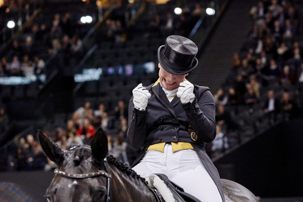 """Yes! We've done it again!"" Germany's Isabell Werth, the most medalled athlete in equestrian sport, celebrates victory with Weihegold at the FEI World Cup™ Dressage Final 2018 in Paris (FRA) today."