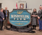 Windfields Farm entry sign (from left): Dr. Gary Polonsky; Sandy Hawley; Oshawa Mayor John Henry; Noreen Taylor, third Chancellor of UOIT; Sue McGovern, Vice-President, External Relations and Advancement; Dr. Steven Murphy, President, UOIT.