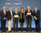 The Longines FEI awards for best jumping rider and best horse presented tonight at the Paris City Hall. From left to right : FEI President Ingmar De Vos, McLain Ward (USA), Kent Farrington (USA) winner of the Longines FEI Best Rider Award, Claudia Mathy, François Mathy and Juan-Carlos Capelli, Vice President of Longines and Head of International Marketing.