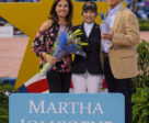 Martha Jolicoeur (left), along with Dr. Stephen Norton (right) present the Martha Jolicoeur Overall Leading Lady Rider Award, in memory of Dale Lawler, to U.S. Olympian Margie Engle at the conclusion of the 2018 Winter Equestrian Festival in Wellington, FL. Photo by Jump Media