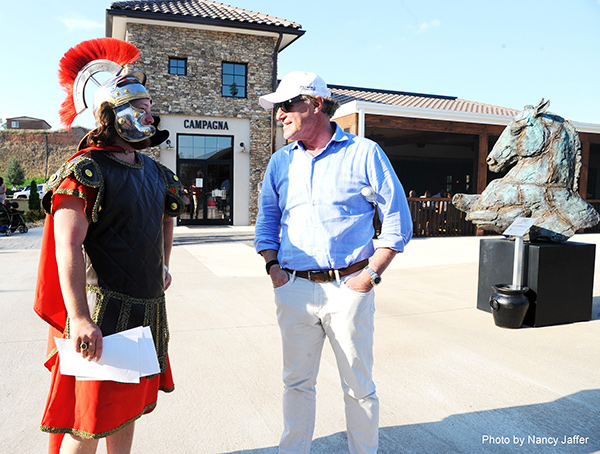Mark Bellisimo in at the Tryon International Equestrian Center with the gladiator who is the symbol of Gladiator Polo, which will be held at the WEQx Games™ during the FEI World Equestrian Games™. Photo© 2018 by Nancy Jaffer