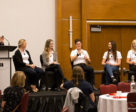 The Developing Canada's Youth: Presentation & Athlete Panel generated an informative dialogue concerning the successful development of equestrian high performance youth athletes. L to R: Dina Bell-Laroche, April Simmonds, Jennifer Mattell, Annick Niemueller, Ava MacCoubrey, Vanessa Creech-Terauds. Photo by Cealy Tetley
