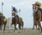 Curlin's Honor (right) and jockey Gary Boulanger winning the $100,000 Woodstock Stakes on Saturday, May 5 at Woodbine Racetrack.