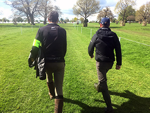 Mark Todd and Oliver Townend walk the course.