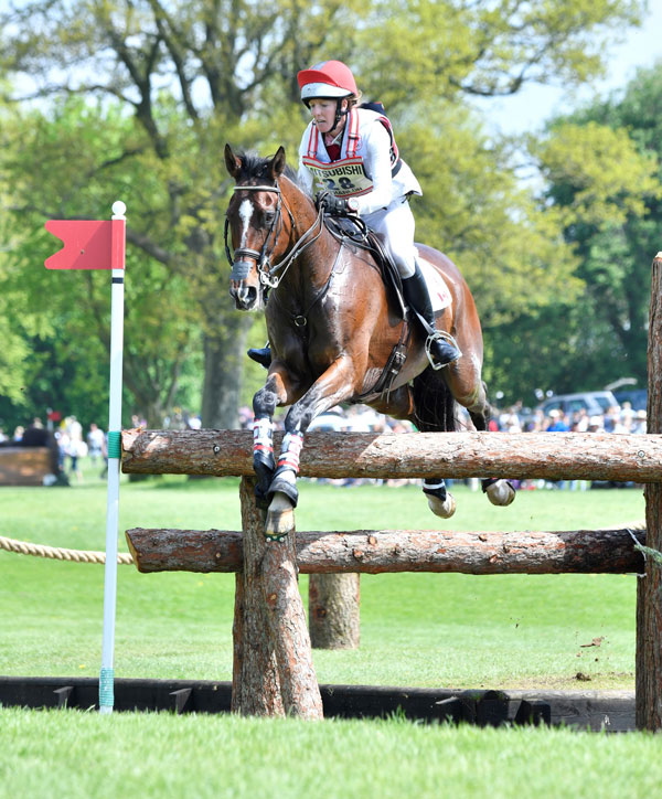 Selena O'Hanlon jumped a clear cross-country round with 16.4 time penalties on May 5 to hold on to 17th place. She ended on a final score of 63.8 for 24th after the show jumping phase the following day. Photo by Mitsubishi Motors/Kit Houghton