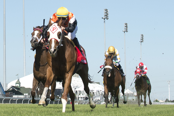 Caribou Club and jockey Gary Boulanger winning the $175,000 Connaught Cup (Grade 2) on Saturday, June 2 at Woodbine Racetrack.