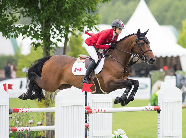 Tiffany Foster of North Vancouver, BC, was double clear for Canada riding Victor, owned by Artisan Farms and Torrey Pines Stable. Photo by Cara Grimshaw