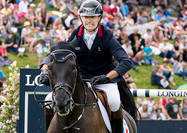 Filled with determination - Nicolas Delmotte and Ilex VP produced one of the three double-clear rounds that helped seal victory for France at the Longines FEI Jumping Nations Cup™ of Switzerland at St Gallen (SUI) today. Photo by FEI/Gustavo Lorenzo