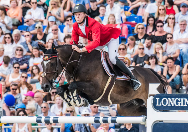 Niels Bruynseels and Cas de Liberte played a key role in today's win for Team Belgium at the Longines FEI Jumping Nations Cup™ of Poland in Sopot (POL). Photo by FEI/Lukasz Kowalski