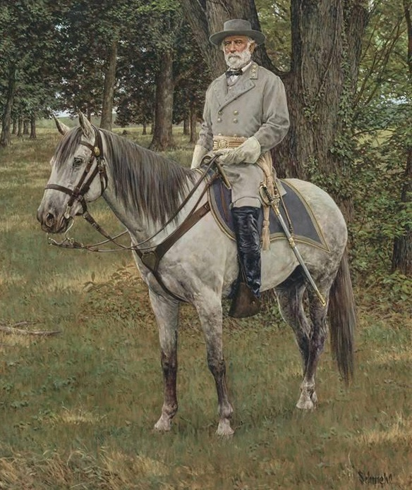 Confederate General Robert E Lee on a grey American Saddlebred horse