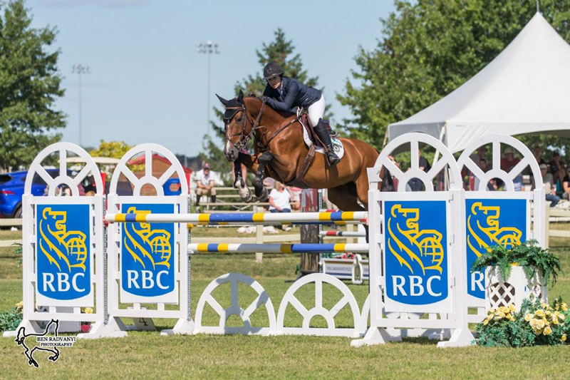 Ottawa's Karen Sparks riding Teddy du Bosquetiau won the FEI Welcome Speed, presented by Deloitte, on Wednesday, July 18, at the CSI3* Ottawa International Horse Show at Wesley Clover Parks in Ottawa, ON. Photo by Ben Radvanyi Photography