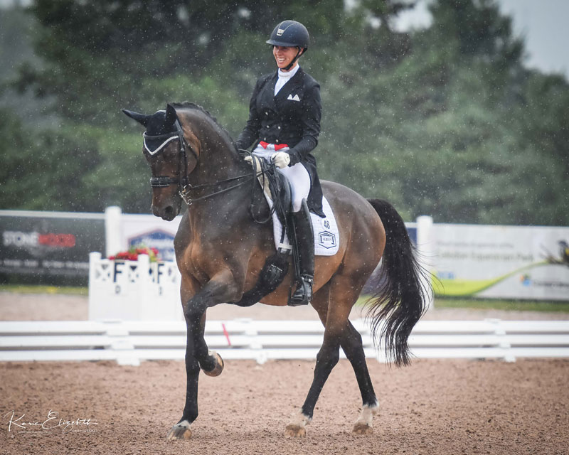 Megan Lane of Loretto, ON earned qualifying scores for the 2018 FEI World Equestrian Games with Zodiac MW at the Caledon Salute to Dressage CDI 3*, held July 20-22, 2018, in Caledon, ON. Photo by Karie Elizebeth Photography