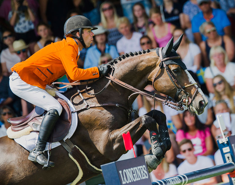 Maikel van der Vleuten and IDI Utopia helped The Netherlands to another spectacular victory in the Longines FEI Jumping Nations Cup™ of Sweden in Falsterbo (SWE). Photo by FEI/Satu Pirinen