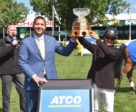 Eric Lamaze (CAN) winner of the 2018 ATCO Queen Elizabeth II Cup, with Wayne Stensby, Managing Director Electricity, ATCO