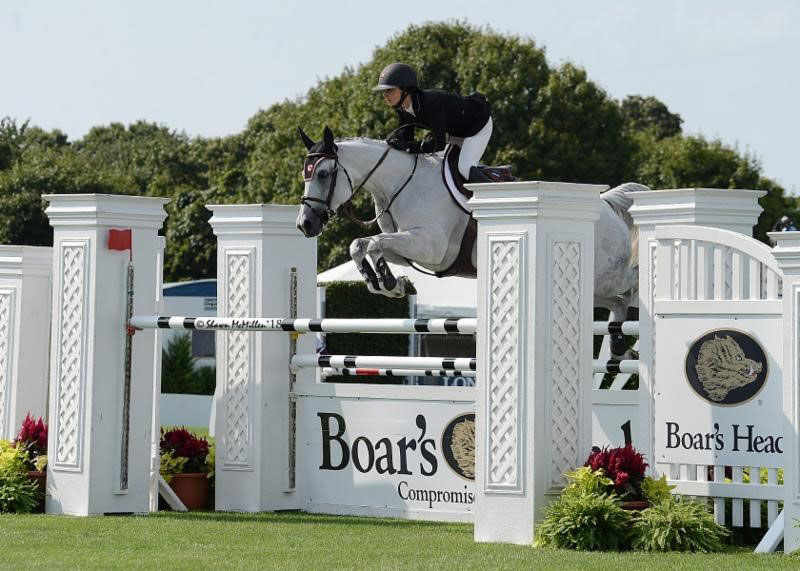 Georgina Bloomberg and Paola 233 won the $30,000 Boar's Head Open Jumper at the Hampton Classic. Photo by Shawn McMillen