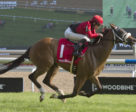 Wallace and jockey Emma-Jayne Wilson winning the inaugural $100,000 Soaring Free Stakes on Sunday, August 26 at Woodbine Racetrack.