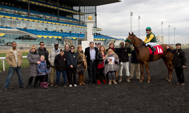 Mike, with his many supporters, in the winner's circle at Woodbine in 2015. Photo by Michael Burns