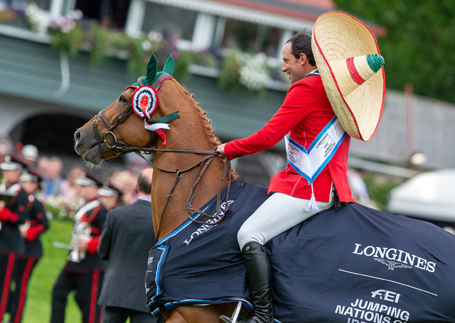 Patricio Pasquel celebrates in a sombrero after jumping two brilliant clear rounds with Babel to help Team Mexico to victory in the Longines FEI Jumping Nations Cup™ of Ireland in Dublin (IRL).