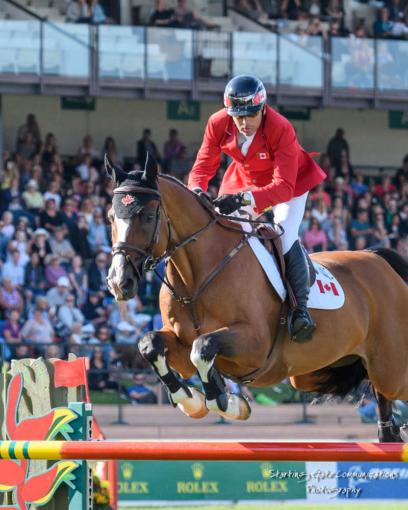 Eric Lamaze jumped double clear with Coco Bongo, owned by Artisan Farms and Torrey Pines Stable, to lead Canada to a second-place finish in the $460,000 BMO Nations' Cup on Saturday, September 8, at the CSIO5* Spruce Meadows Masters in Calgary, AB.