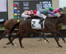 Gamble's Ghost and jockey Eurico Rosa Da Silva winning the $100,000 Belle Mahone Stakes on Sunday, Sept. 9 at Woodbine Racetrack. Michael Burns Photo