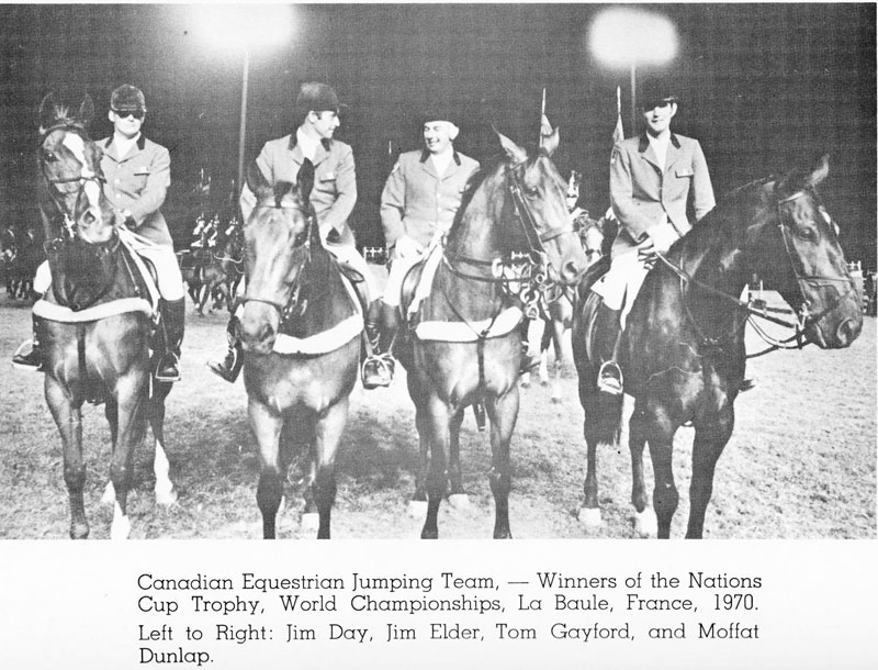 Canada's gold medal 1970 World Show Jumping Championship team will be one of four new inductees into the Jump Canada Hall of Fame on Sunday, November 4, 2018, at the Liberty Grand in Toronto, ON. From left to right: Jim Day, Jim Elder, Tom Gayford, and Moffat Dunlap. Photo Courtesy of Equestrian Canada