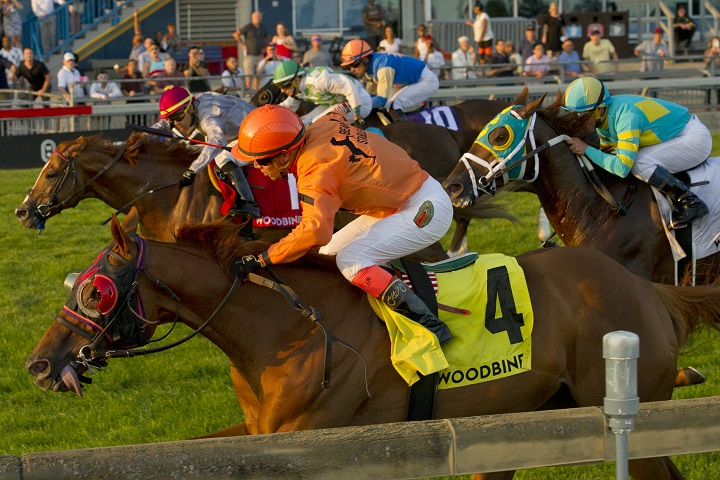 Johnny Bear and jockey Luis Contreras winning the $300,000 Northern Dancer Turf Stakes (Grade 1) on Saturday, Sept. 15 at Woodbine Racetrack.