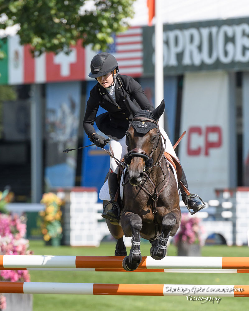 Calgary's Kara Chad sped to victory riding Viva in the $35,500 1.50m ATCO Founders Classic on September 6 at the CSIO5* Spruce Meadows 'Masters' tournament.. Photo by Starting Gate Communications