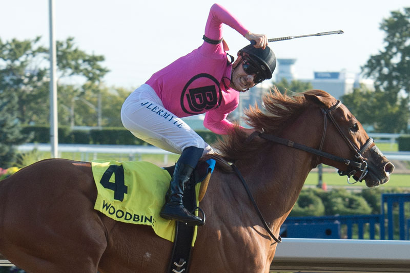 Jockey Jerome Lermyte celebrates aboard Lookin for Eight after winning the $125,000 Durham Cup (Grade 3) on Sunday, Sept. 23 at Woodbine Racetrack. Michael Burns Photo