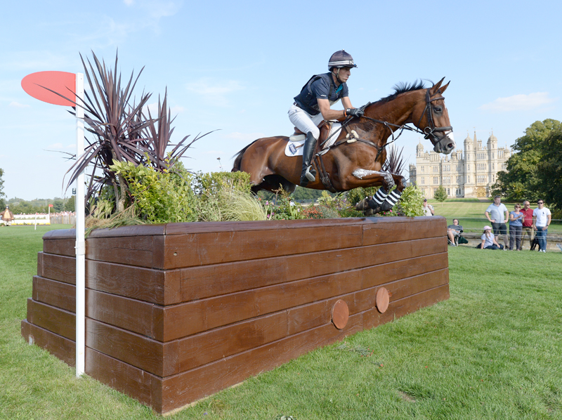 Tim Price (NZL) riding Ringwood Sky Boy during the cross country phase of the Land Rover Burghley Horse Trials in Lincolnshire, UK.