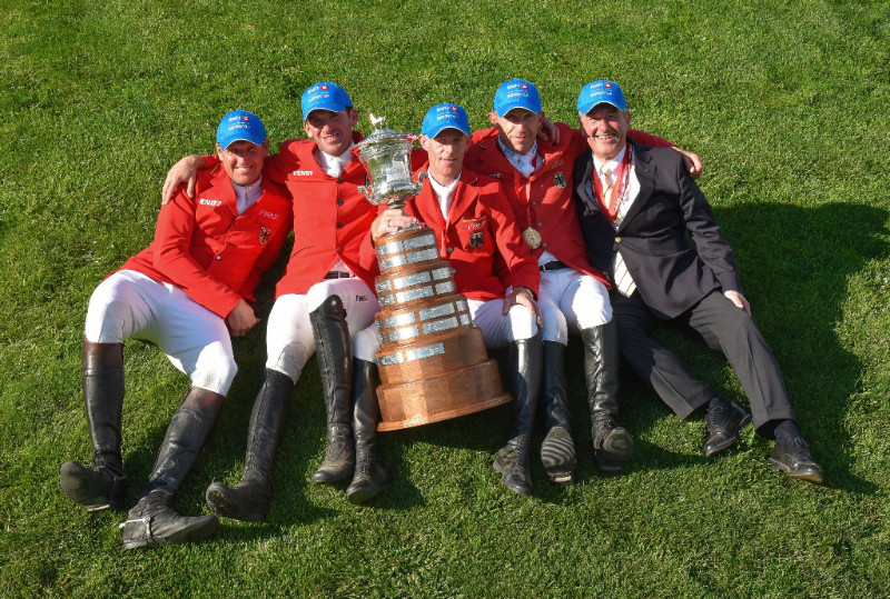 2018 winners of the BMO Nations Cup: Team Germany (l-r) Andre Thieme, Philipp Weishaupt, Marcus Ehning, Holger Wulschner and chef d'equipe Peter Hofmann.