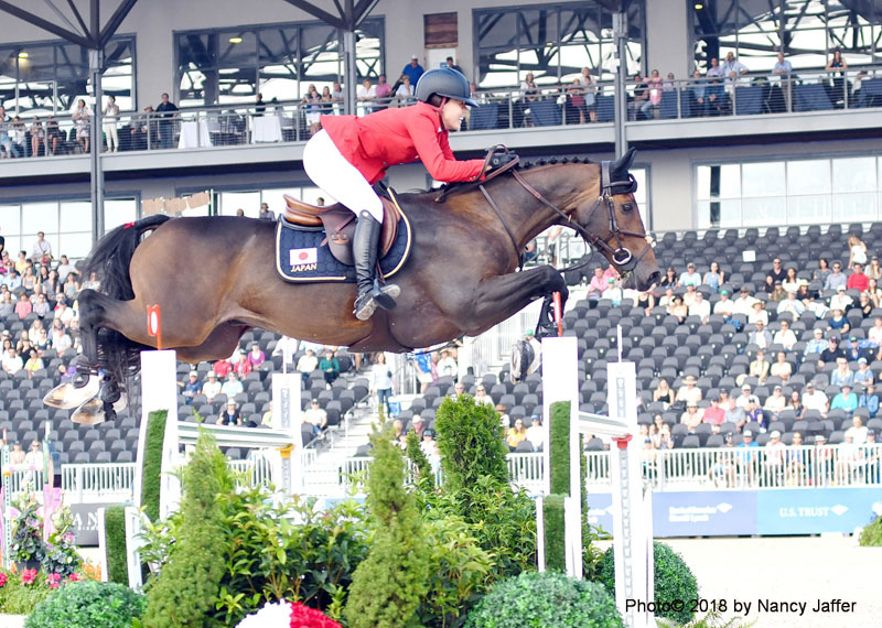 VIPs were able to watch show jumpers from around the world while sitting on their balcony, while regular ticketholders had a vantagepoint from the stands below. Photo ©2018 by Nancy Jaffer