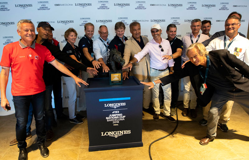 They all want to get their hands on it! The Chefs d'Equipe of the 15 nations that will compete for the 2018 Longines FEI Jumping Nations Cup™ title when the action gets underway at 20.00 tomorrow evening at the Real Club de Polo in Barcelona (ESP). Photo by FEI/Jim Hollander