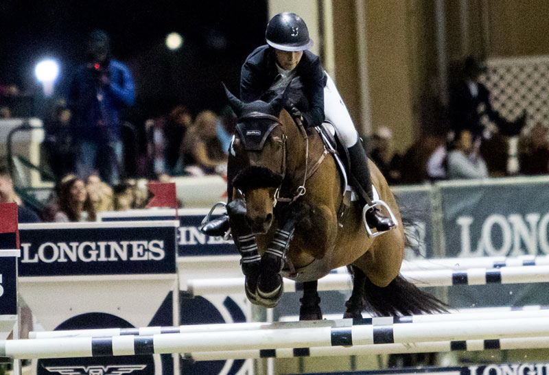 Zazou Hoffmann (USA) with Samson II conquer the Longines FEI Jumping World™ Cup Del Mar on Saturday 20 October 2018. Photo by FEI/ Lindsey Long