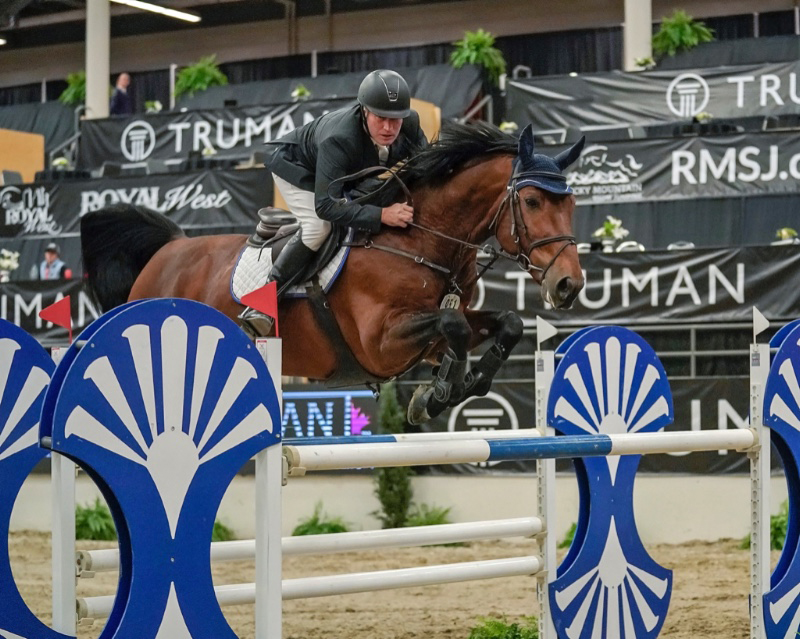 Jim Ifko aboard Un Diamant Des Forets winner of the $40,000 Grant Production Testing Services Cup at Royal West CSI3*.