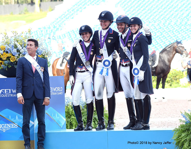 The WEG silver medal U.S. dressage team: Technical advisor Robert Dover, Kasey Perry-Glass, Adrienne Lyle, Steffen Peters and Laura Graves. Photo© 2018 by Nancy Jaffer