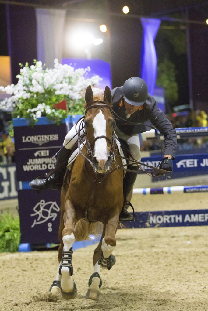 Wilhelm Genn (GER) with his mount Bugatti stakes his claim to a first ever victory in a nail biting jump off at the Longines FEI Jumping World Cup™ Sacramento 2018/2019.