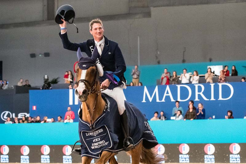 Germany's Daniel Deusser celebrates his second victory in the Longines FEI Jumping World Cup™ 2018/2019 Western European League series after coming out on top with Tobago in the sixth leg at Madrid in Spain.