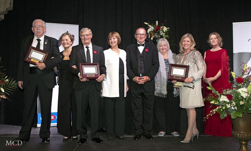 "Kerri Kerr accepted the 2018 JC Sponsor of the Year Award on behalf of Grant Stevens of Grant Production Testing Services Ltd. from Pam Law, Chair of the EC Jumping Committee, at the Jump Canada Hall of Fame Induction Ceremony and Gala, presented by BMO Financial Group. L to R: Neil Ratledge, Fran McAvity, Craig Collins, Pam Law, John ""JT"" Taylor, Jan Stephens, Kerri Kerr, Beth Underhill Photo by Michelle C. Dunn"