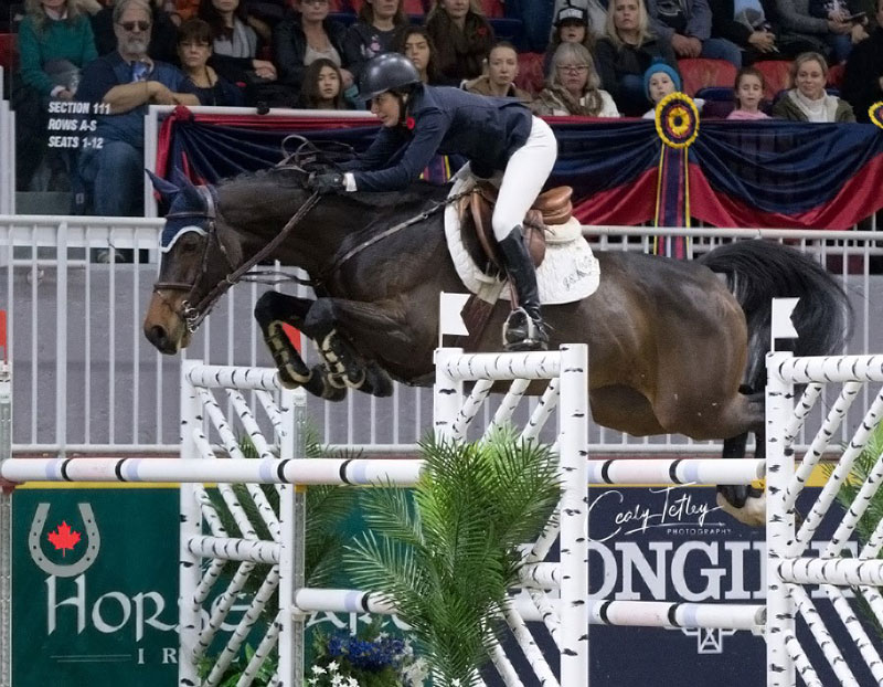 Jordan Macpherson claimed the 2018 National 1.40m Junior/Amateur Jumping Championship title aboard Fiestamunde in front of her hometown crowd at the Royal Horse Show in Toronto, ON, on Nov. 4, 2018. Photo © Cealy Tetley - www.tetleyphoto.com