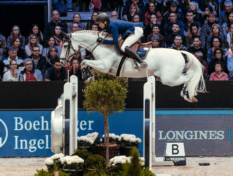 Switzerland's Martin Fuchs and Clooney produced a spectacular victory in the fourth leg of the Longines FEI Jumping World Cup™ 2018/2019 Western European League at Equita Longines in Lyon, France today. Photo by FEI/Christophe Tanière