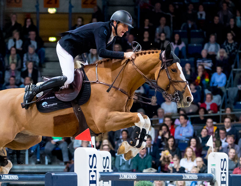 Belgium's Pieter Devos and Apart on their way to victory in today's fascinating fifth leg of the Longines FEI Jumping World Cup™ 2018/2019 Western European League in Stuttgart (GER). Photo by FEI/Leanjo de Koster