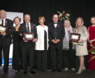 """Craig Collins of Loretto, ON received his second JC Volunteer of the Year award from Pam Law, EC Jumping Committee Chair, at the Jump Canada Hall of Fame Induction Ceremony and Gala, presented by BMO Financial Group, on Nov. 4, 2018 at the Liberty Grand in Toronto, ON. L to R: Neil Ratledge, Fran McAvity, Craig Collins, Pam Law, John """"JT"""" Taylor, Jan Stephens, Kerri Kerr, Beth Underhill."""